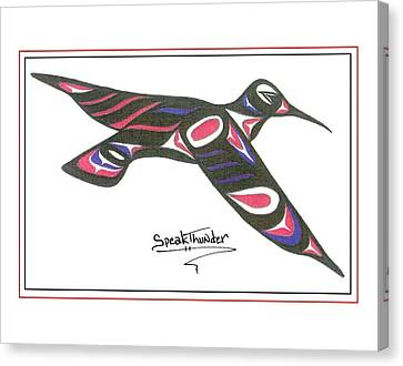 Red White And Blue Humming Bird Canvas Print by Speakthunder Berry