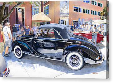 Reflecting On A Mercedes Canvas Print by Mike Hill