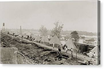 Refugees At A Tent City On The Levee Canvas Print by Everett