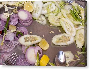 Remains Of A Salad After A Hearty Meal Canvas Print by Ashish Agarwal