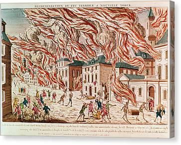 Representation Of The Terrible Fire Of New York Canvas Print by French School
