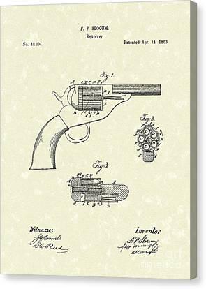 Revolver 1863 Patent Art Canvas Print by Prior Art Design