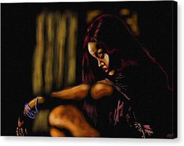 Rihanna Canvas Print by Anthony Crudup