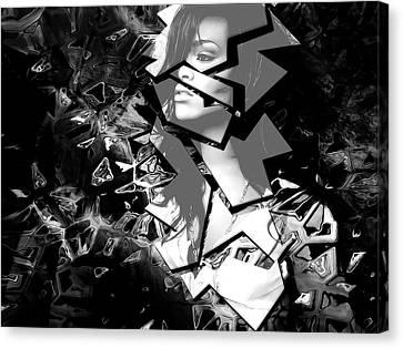 Rihanna Shattered Canvas Print by Anibal Diaz