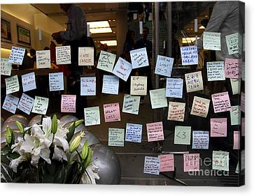 Rip Steve Jobs . October 5 2011 . San Francisco Apple Store Memorial 7dimg8575 Canvas Print by Wingsdomain Art and Photography