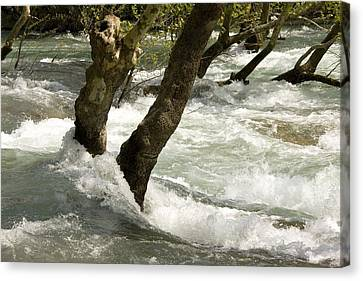 River Manavgat In Flood Canvas Print by Bob Gibbons