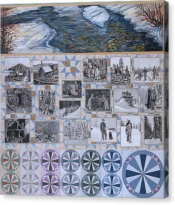 River Mural Winter Panel Bottom Half Canvas Print by Dawn Senior-Trask