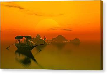 River Sunset Canvas Print by John Junek