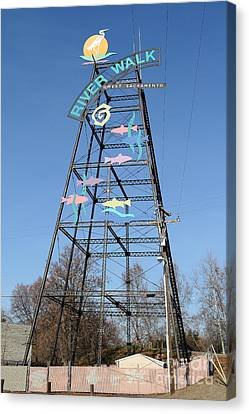 River Walk Tower Sign In West Sacramento California . 7d11400 Canvas Print by Wingsdomain Art and Photography