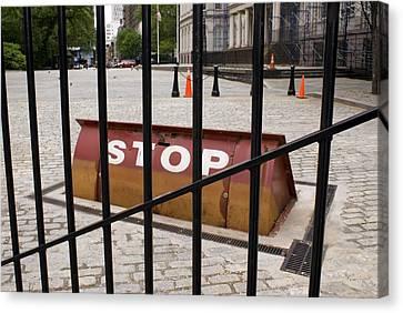 Road Blocker At New York City Hall. Canvas Print by Mark Williamson