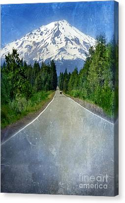 Road Leading To Snow Covered Mount Shasta Canvas Print by Jill Battaglia