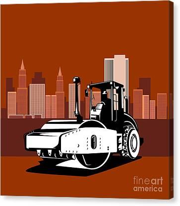 Road Roller  Retro  Canvas Print by Aloysius Patrimonio