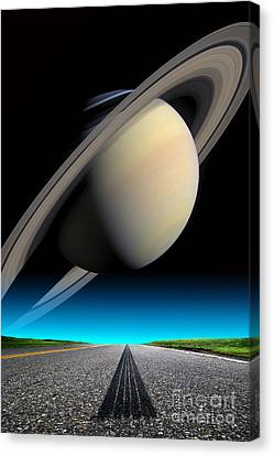 Road To Saturn Canvas Print by Larry Landolfi and Photo Researchers