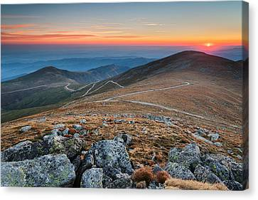Road To Sunrise Canvas Print by Evgeni Dinev