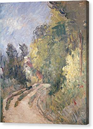 Road Turning Under Trees Canvas Print by Paul Cezanne