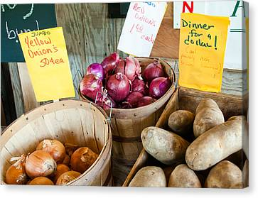 Roadside Produce Stand Onions And Potatoes Canvas Print by Denise Lett