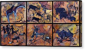 Rock Art Panels  Canvas Print by Caroline Street