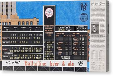 Roger Maris Hits Number 61 In 1961 Canvas Print by Marc Yench