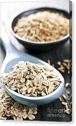 Rolled Oats And Oat Groats Canvas Print by Elena Elisseeva