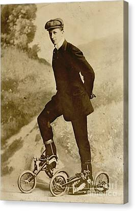 Roller Skating Canvas Print by Padre Art