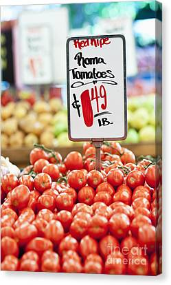 Roma Tomatoes On Sale Canvas Print by Jetta Productions, Inc