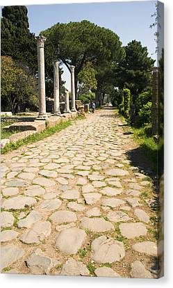 Roman Road, Ostia Antica Canvas Print by Sheila Terry
