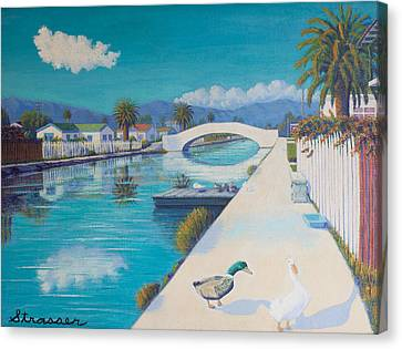 Romance On Retro Canal Canvas Print by Frank Strasser