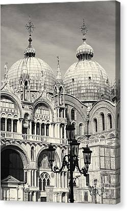 Roof And Facade Of St Mark Basilica  Canvas Print by George Oze