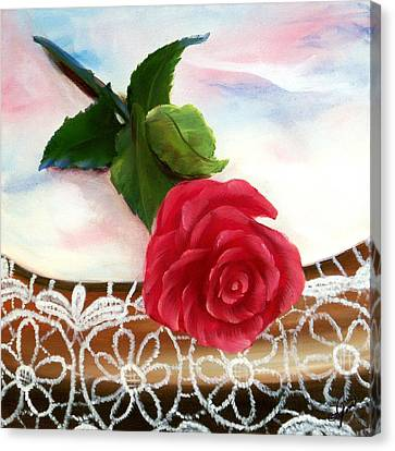 Rose And Lace Canvas Print by Joni McPherson