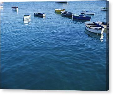 Row Boats In Harbor, Lanzarote Canvas Print by Axiom Photographic