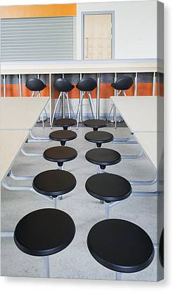 Rows Of Seats At Tables In The Dining Canvas Print by Iain  Sarjeant