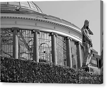 Royal Conservatory In Brussels - Black And White Canvas Print by Carol Groenen