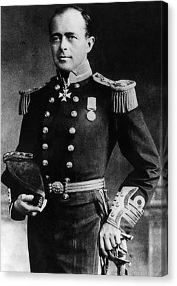 Royal Navy Officer And Antarctic Canvas Print by Everett