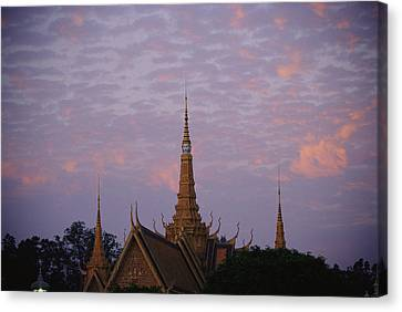 Royal Palace Rooftop At Dawn, Phnom Canvas Print by Steve Raymer