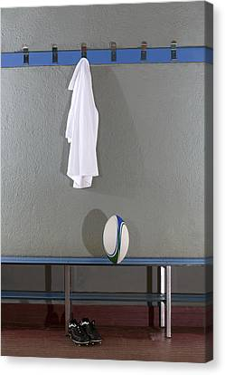 Rugby Jersey, Ball And Boots In Change Room (b&w) Canvas Print by Photo and Co