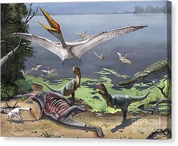 Rugops Primus Dinosaurs And Alanqa Canvas Print by Sergey Krasovskiy