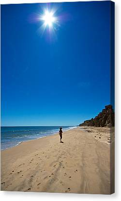 Run On The Beach Canvas Print by Mike Horvath