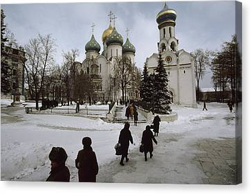 Russian Women, Dressed In Black, Walk Canvas Print by James L. Stanfield