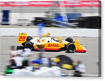 Ryan Hunter-reay Exiting Pit  Road Canvas Print by Jarvis Chau