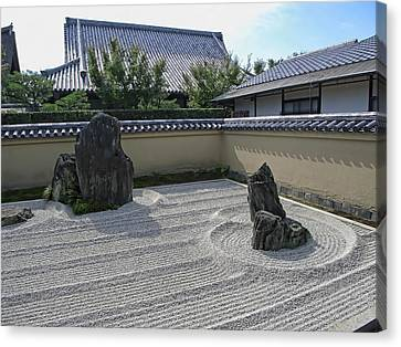 Ryogen-in Raked Gravel Garden - Kyoto Japan Canvas Print by Daniel Hagerman