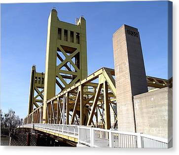 Sacramento California Tower Bridge Crossing The Sacramento Delta River . 7d11553 Canvas Print by Wingsdomain Art and Photography