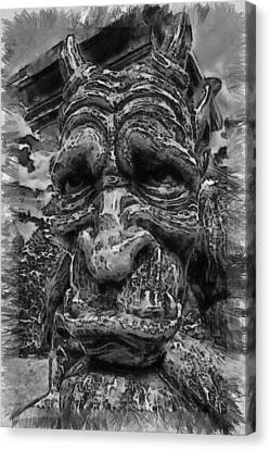 Sadness In Stone - Sketch Canvas Print by Nicholas Evans