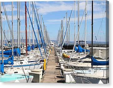 Sail Boats At San Francisco China Basin Pier 42 . 7d7692 Canvas Print by Wingsdomain Art and Photography