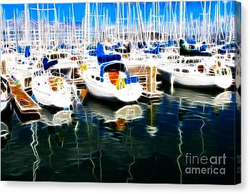 Sail Boats At San Francisco's Pier 42 . Electrified Canvas Print by Wingsdomain Art and Photography