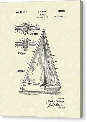 Sailboat 1938 Patent Art Canvas Print by Prior Art Design