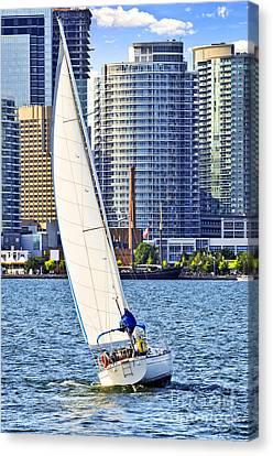 Sailboat In Toronto Harbor Canvas Print by Elena Elisseeva
