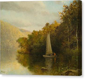 Sailboat On River Canvas Print by Arthur Quarterly