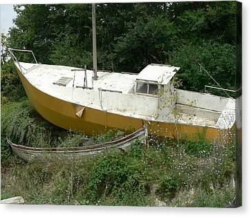 Sailboat Shipwrecked Canvas Print by Amanda Lenard