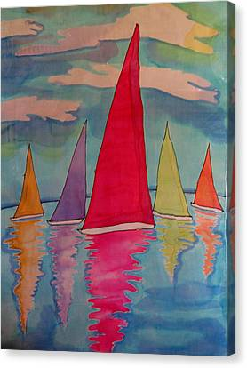 Sailboats Canvas Print by Yvonne Feavearyear