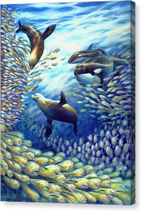 Sailfish Plunders Baitball IIi - Dolphin Fish Seals And Whales Canvas Print by Nancy Tilles